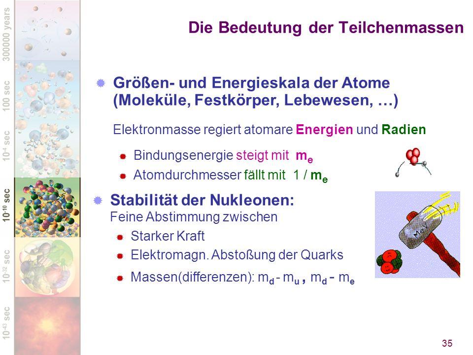 Die Bedeutung der Teilchenmassen