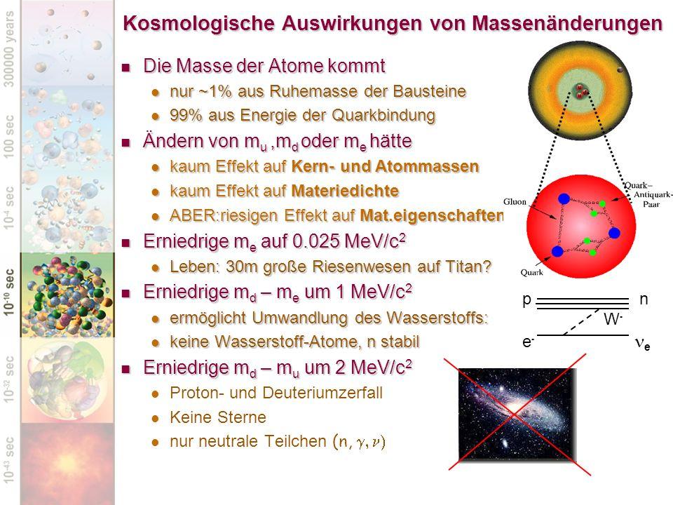 Kosmologische Auswirkungen von Massenänderungen