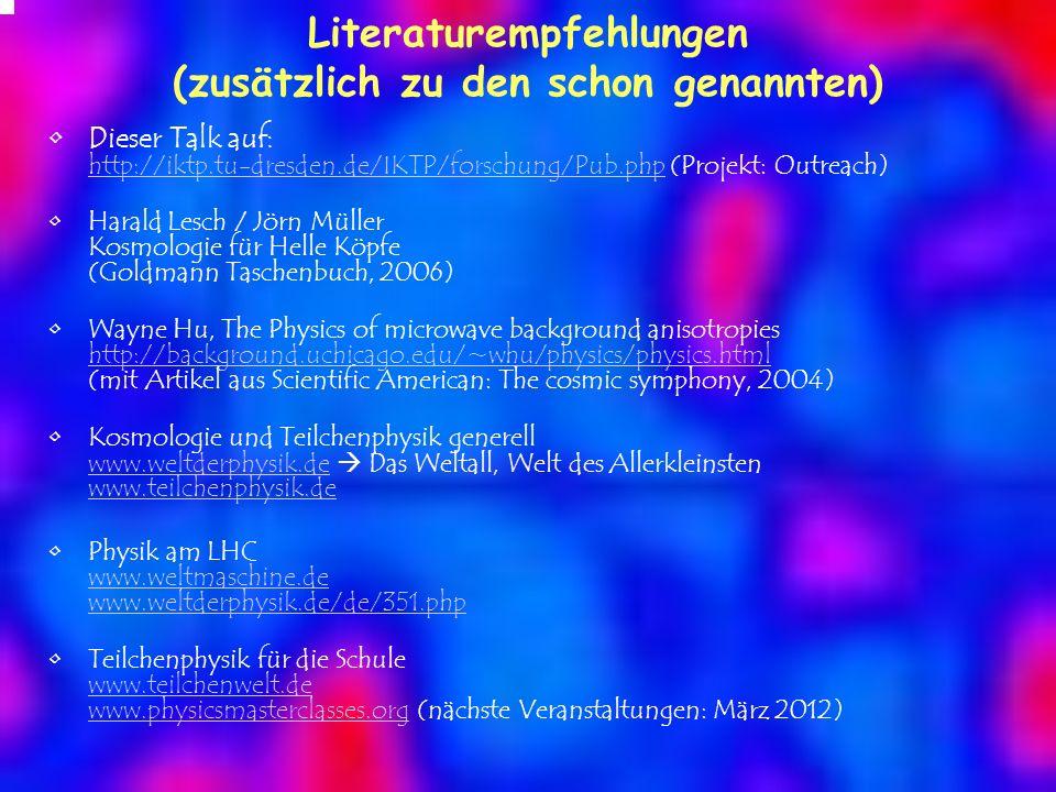 Literaturempfehlungen (zusätzlich zu den schon genannten)