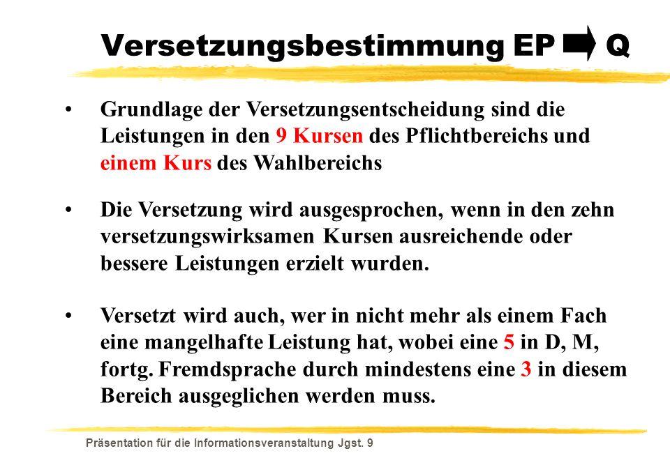 Versetzungsbestimmung EP Q