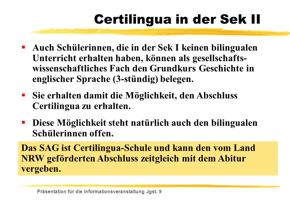 Certilingua in der Sek II