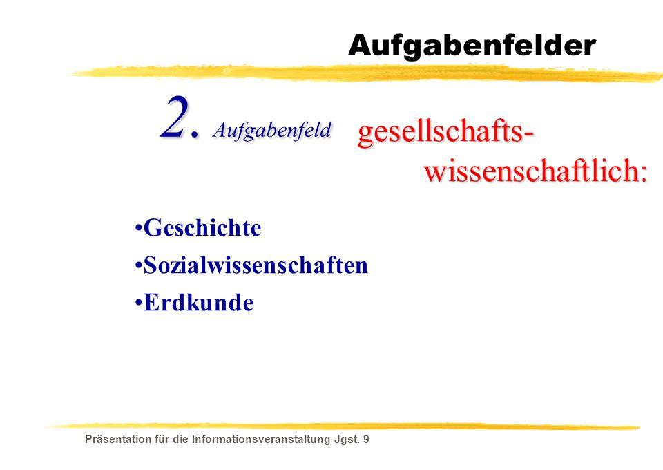 2. Aufgabenfeld gesellschafts- wissenschaftlich: Aufgabenfelder