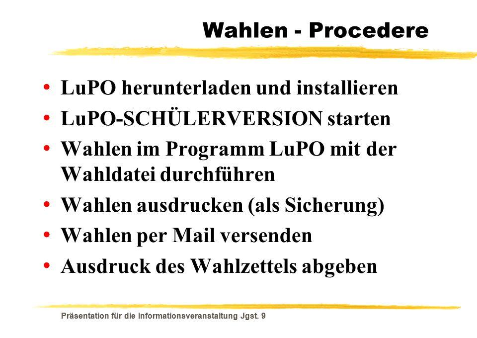 LuPO herunterladen und installieren LuPO-SCHÜLERVERSION starten