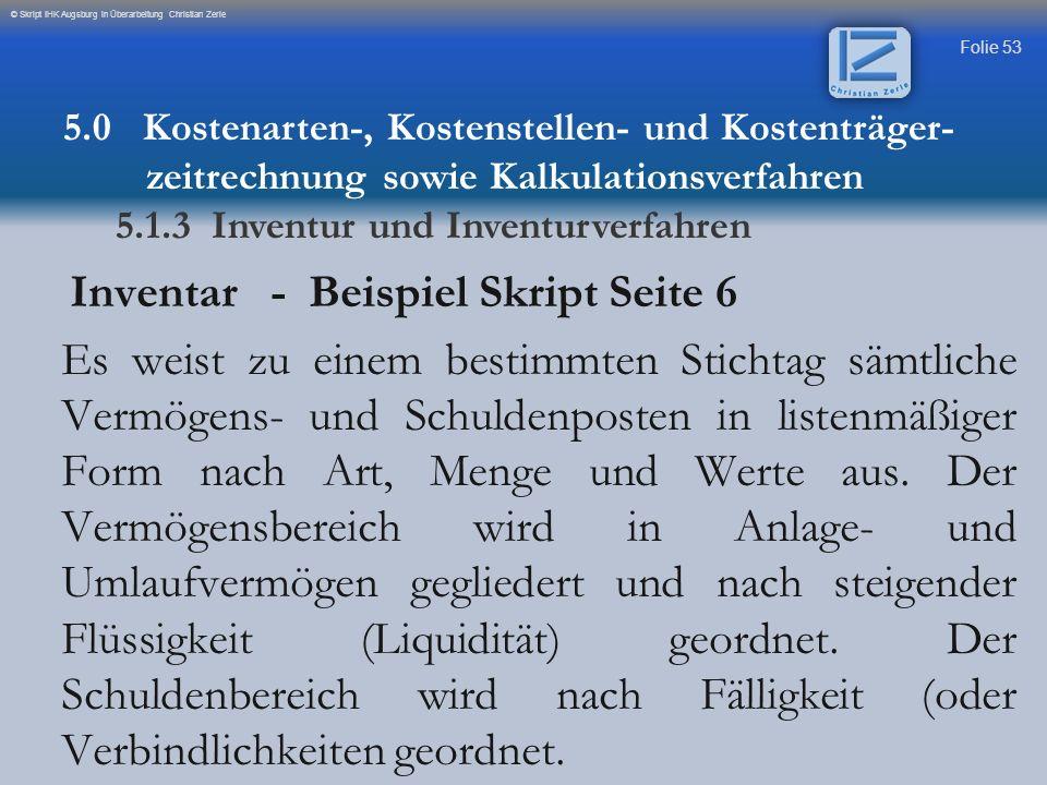 Inventar - Beispiel Skript Seite 6