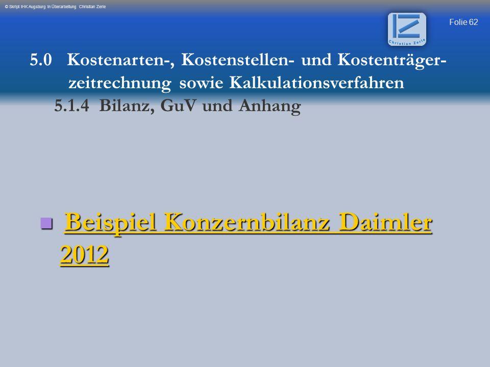 Beispiel Konzernbilanz Daimler 2012
