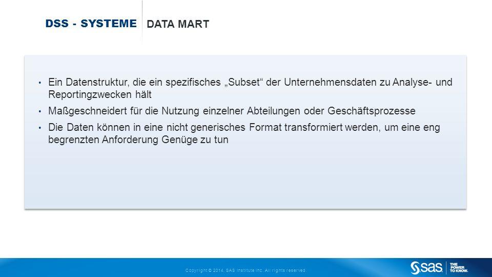 """DSS - Systeme Data mart. Ein Datenstruktur, die ein spezifisches """"Subset der Unternehmensdaten zu Analyse- und Reportingzwecken hält."""