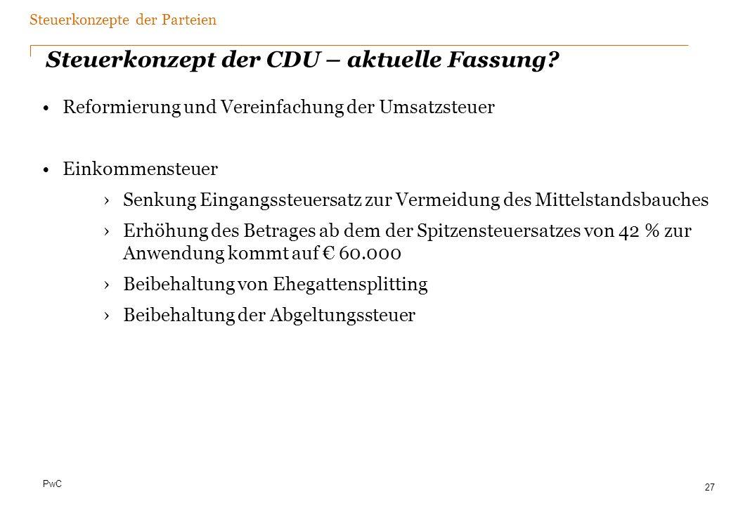 Steuerkonzept der FDP – Eckdaten 2010