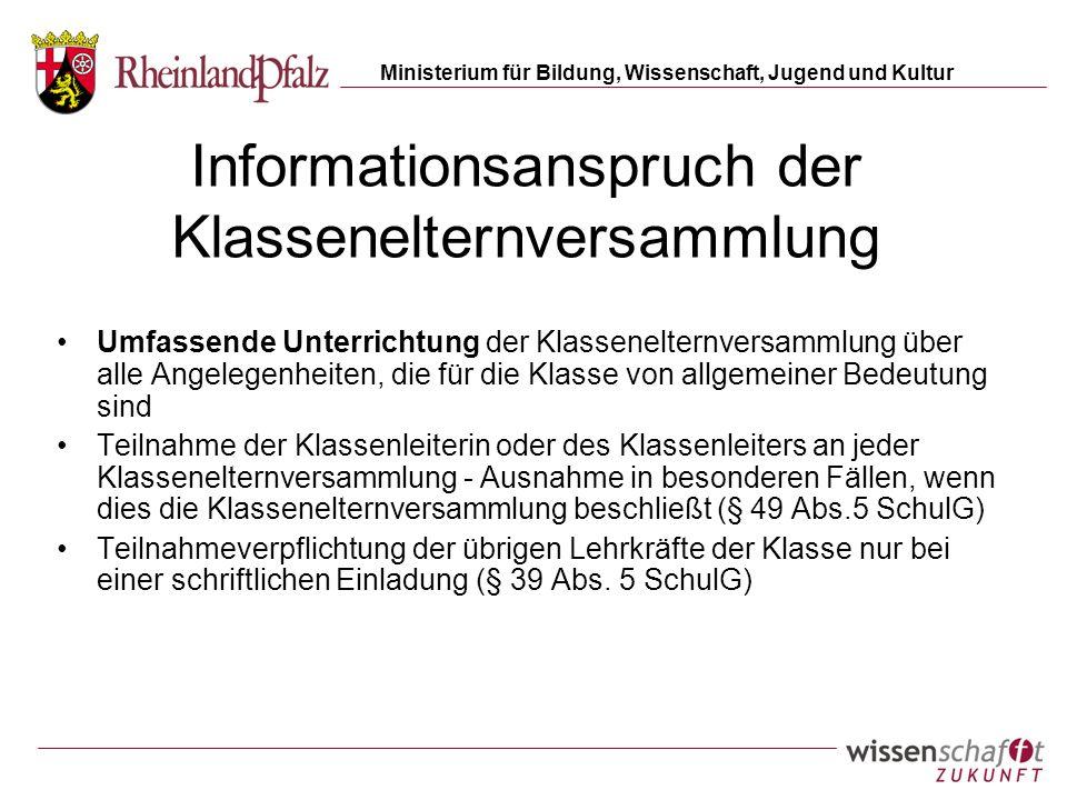 Informationsanspruch der Klassenelternversammlung