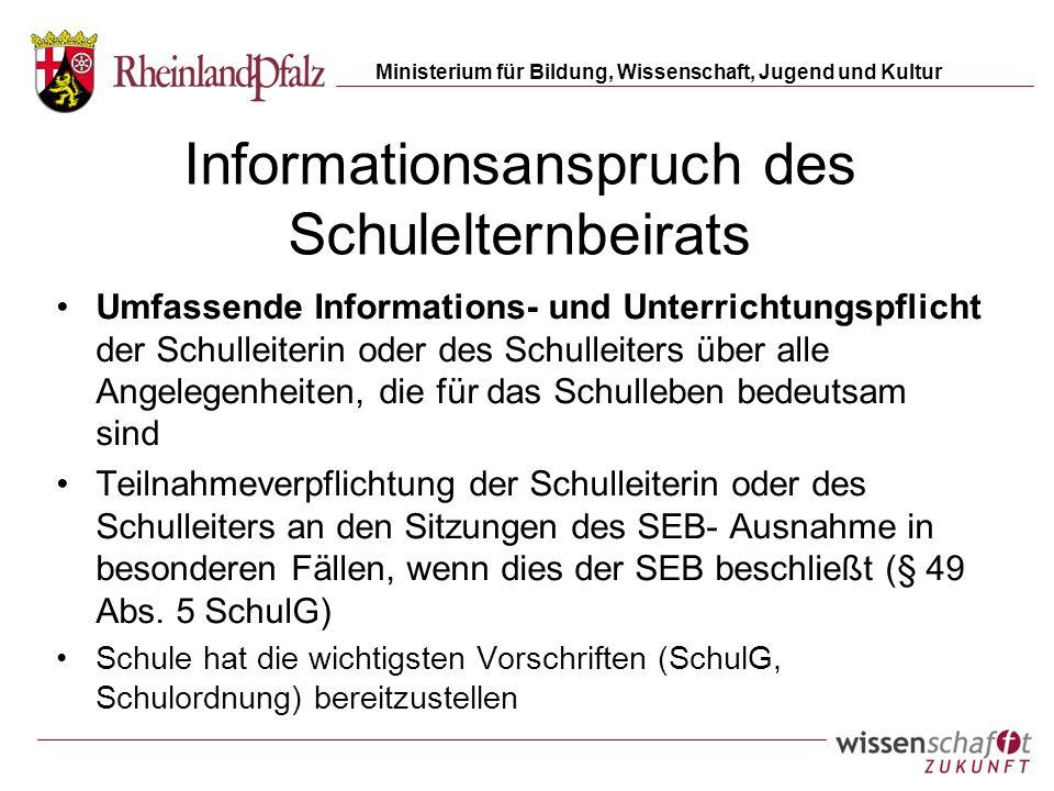 Informationsanspruch des Schulelternbeirats