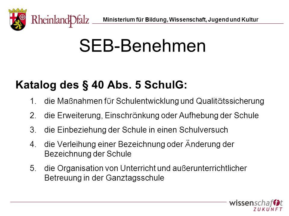 SEB-Benehmen Katalog des § 40 Abs. 5 SchulG: