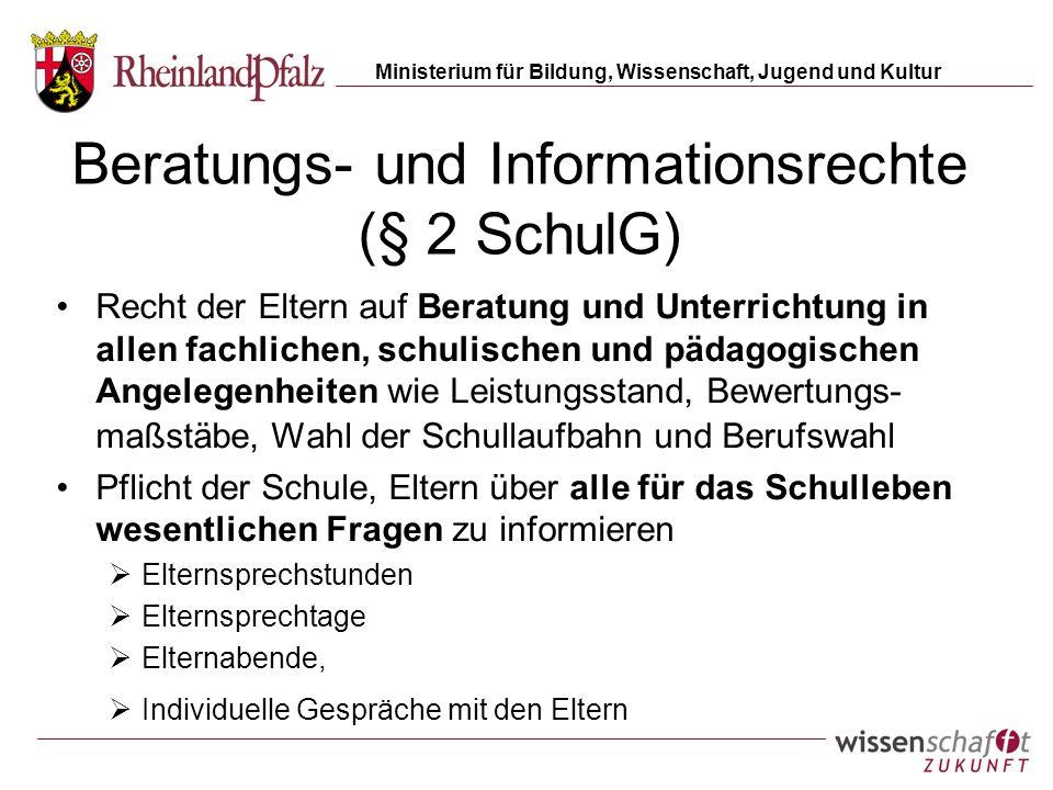 Beratungs- und Informationsrechte (§ 2 SchulG)