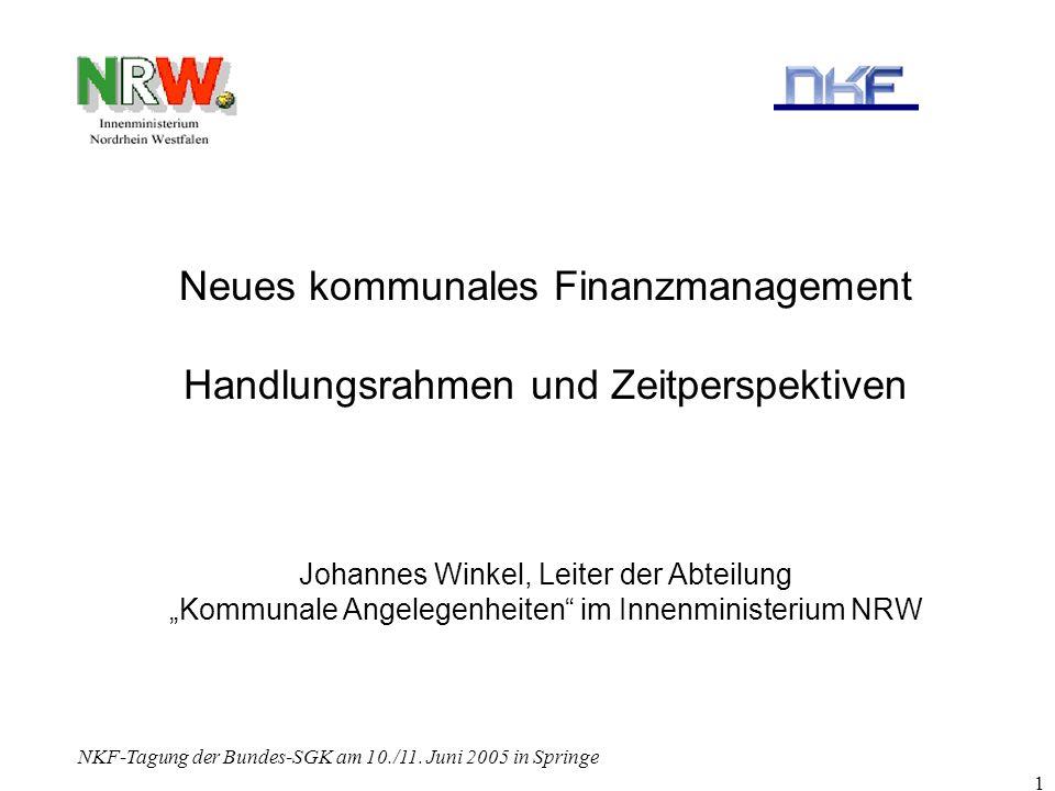 Neues kommunales Finanzmanagement Handlungsrahmen und Zeitperspektiven