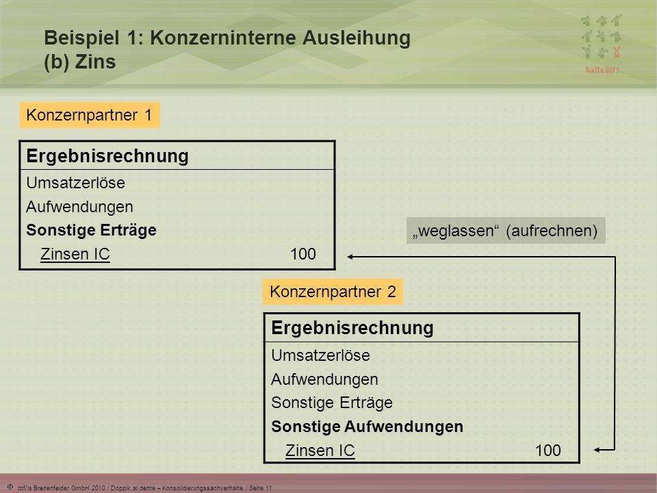 Beispiel 1: Konzerninterne Ausleihung (b) Zins
