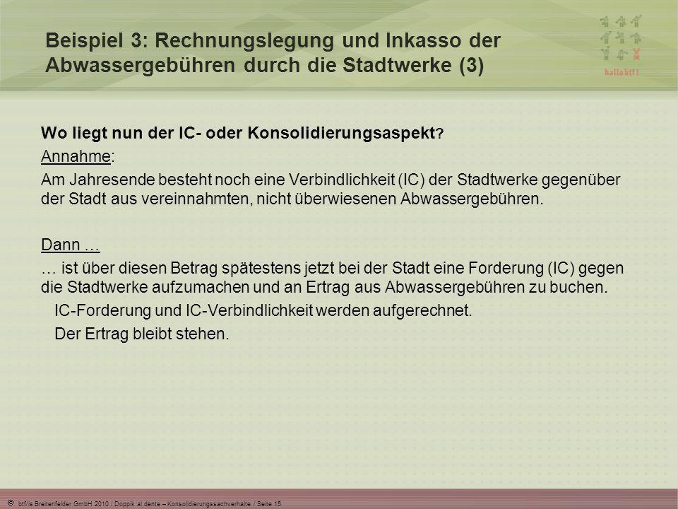 Beispiel 3: Rechnungslegung und Inkasso der Abwassergebühren durch die Stadtwerke (3)