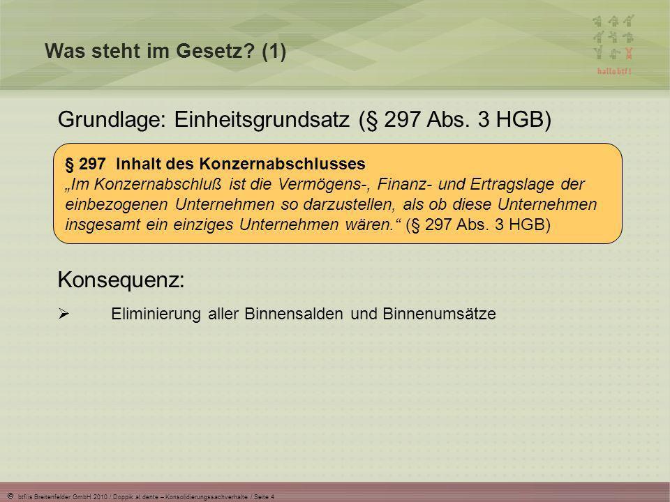 Grundlage: Einheitsgrundsatz (§ 297 Abs. 3 HGB)