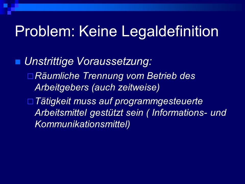 Problem: Keine Legaldefinition