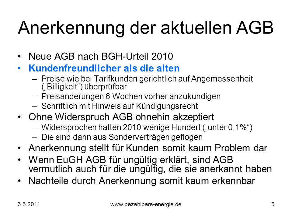 Anerkennung der aktuellen AGB