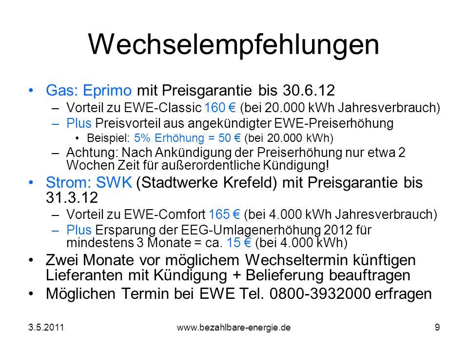 Wechselempfehlungen Gas: Eprimo mit Preisgarantie bis 30.6.12