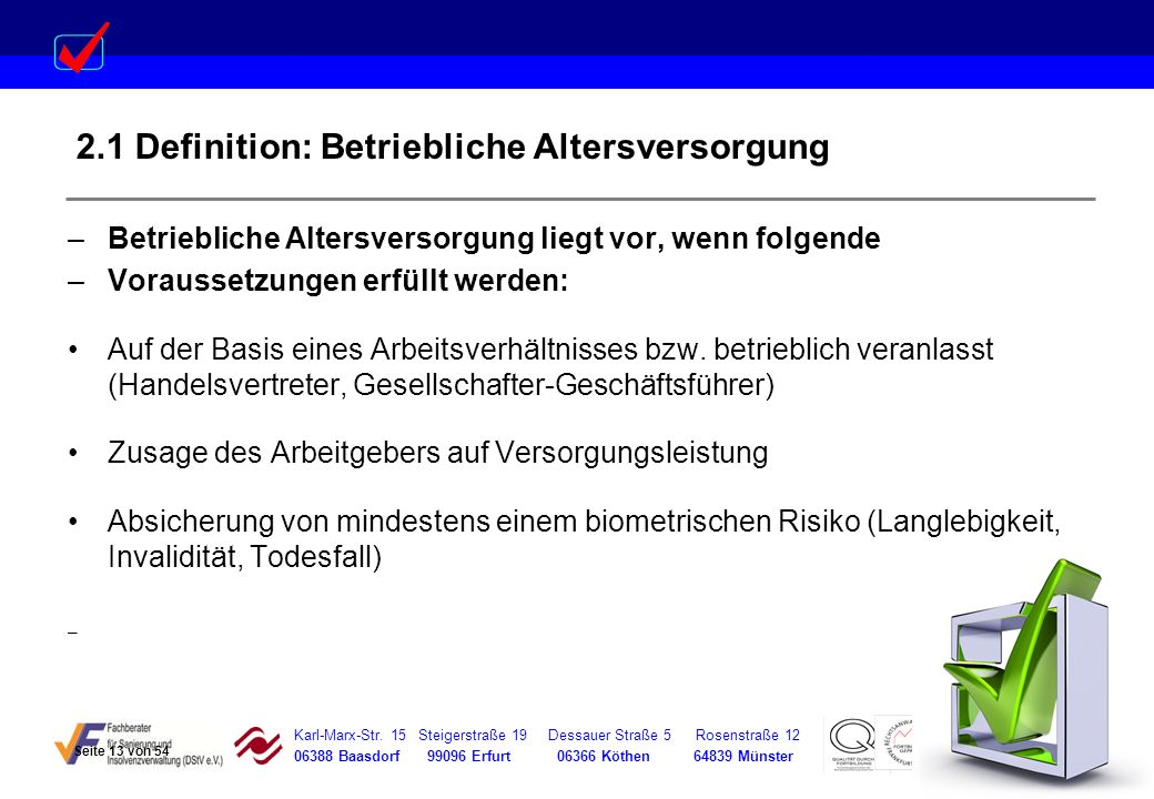 2.1 Definition: Betriebliche Altersversorgung