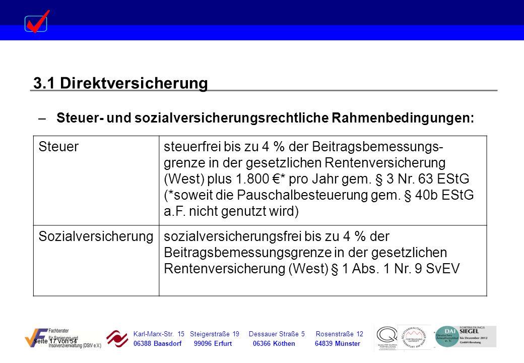 3.1 Direktversicherung Steuer- und sozialversicherungsrechtliche Rahmenbedingungen: Steuer.