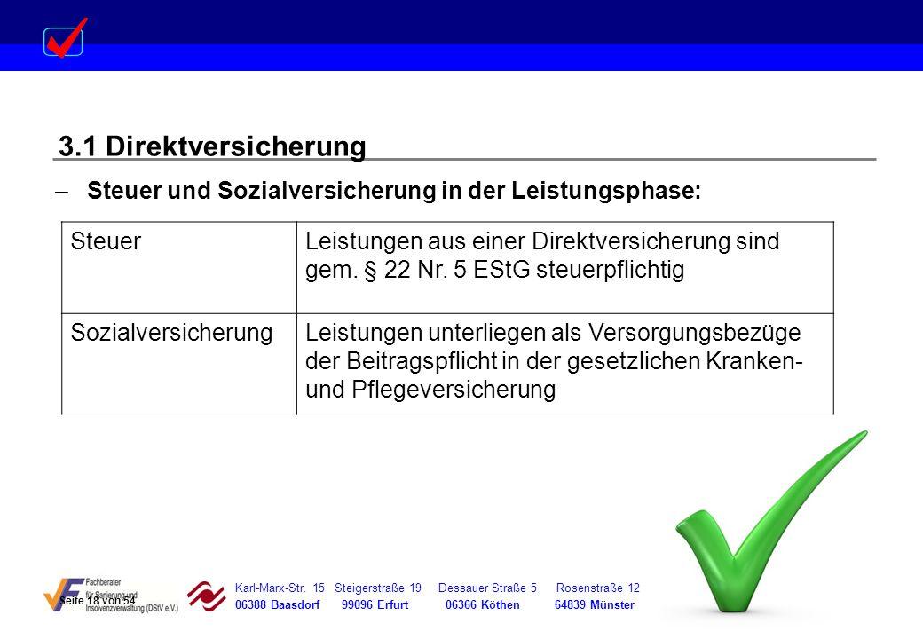 3.1 Direktversicherung Steuer und Sozialversicherung in der Leistungsphase: Steuer.