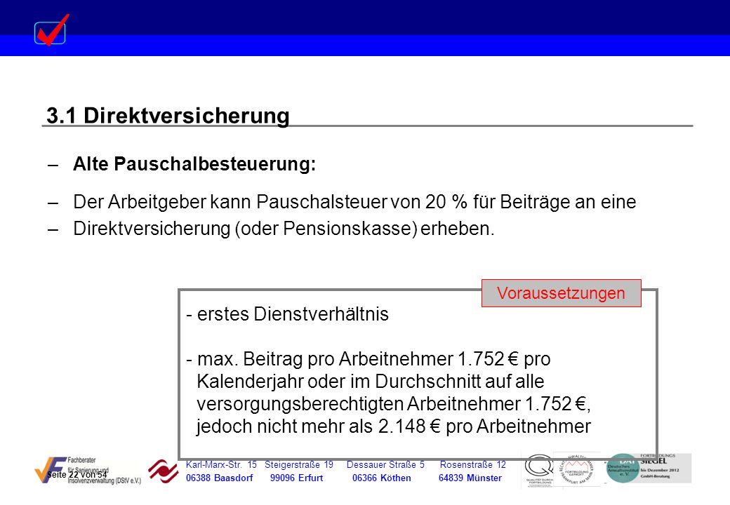 3.1 Direktversicherung Alte Pauschalbesteuerung: