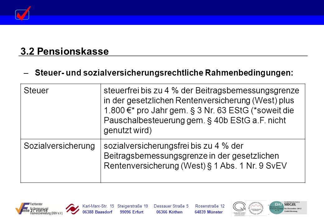 3.2 Pensionskasse Steuer- und sozialversicherungsrechtliche Rahmenbedingungen: Steuer.