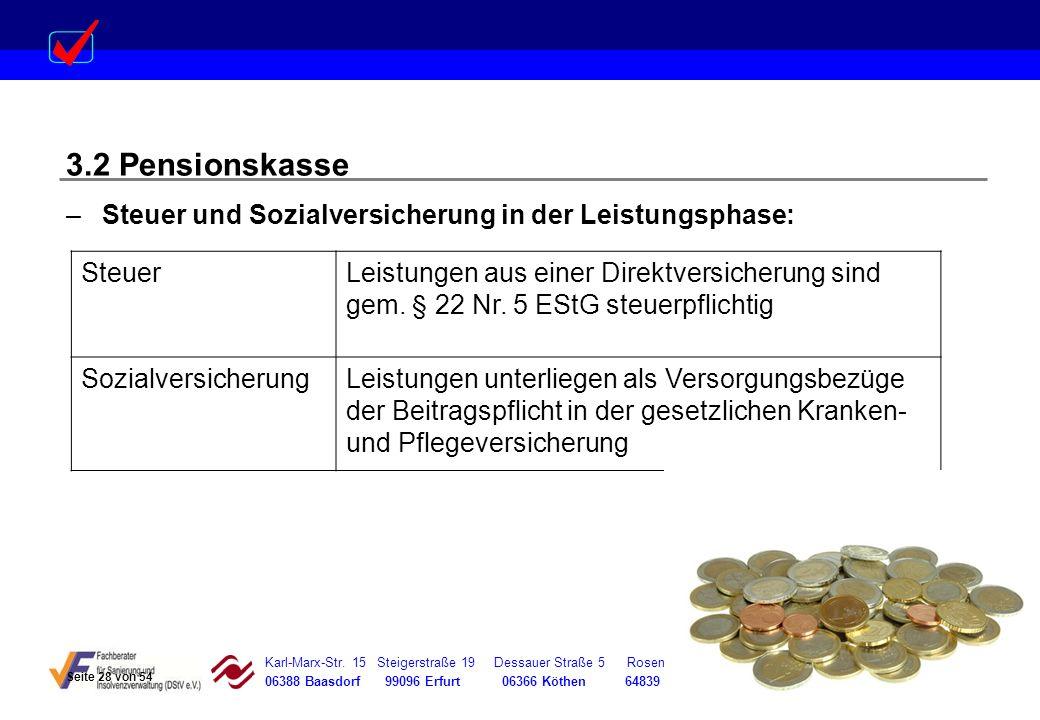3.2 Pensionskasse Steuer und Sozialversicherung in der Leistungsphase: