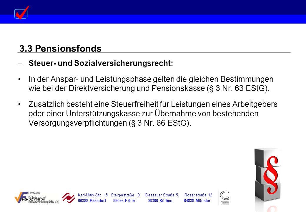 3.3 Pensionsfonds Steuer- und Sozialversicherungsrecht: