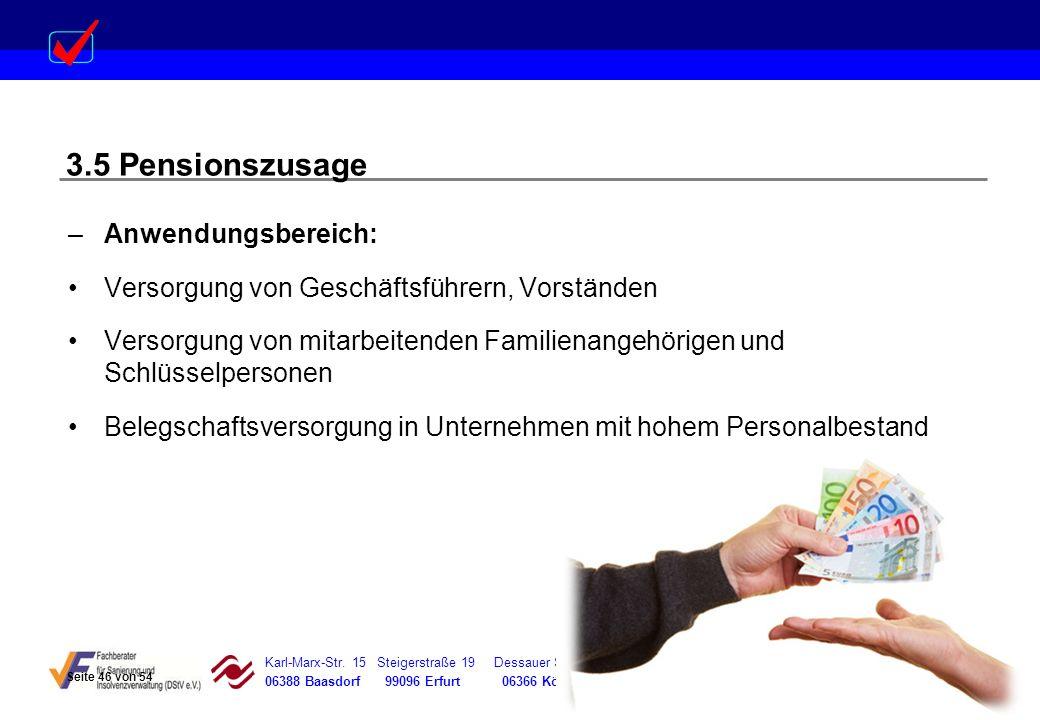 3.5 Pensionszusage Anwendungsbereich: