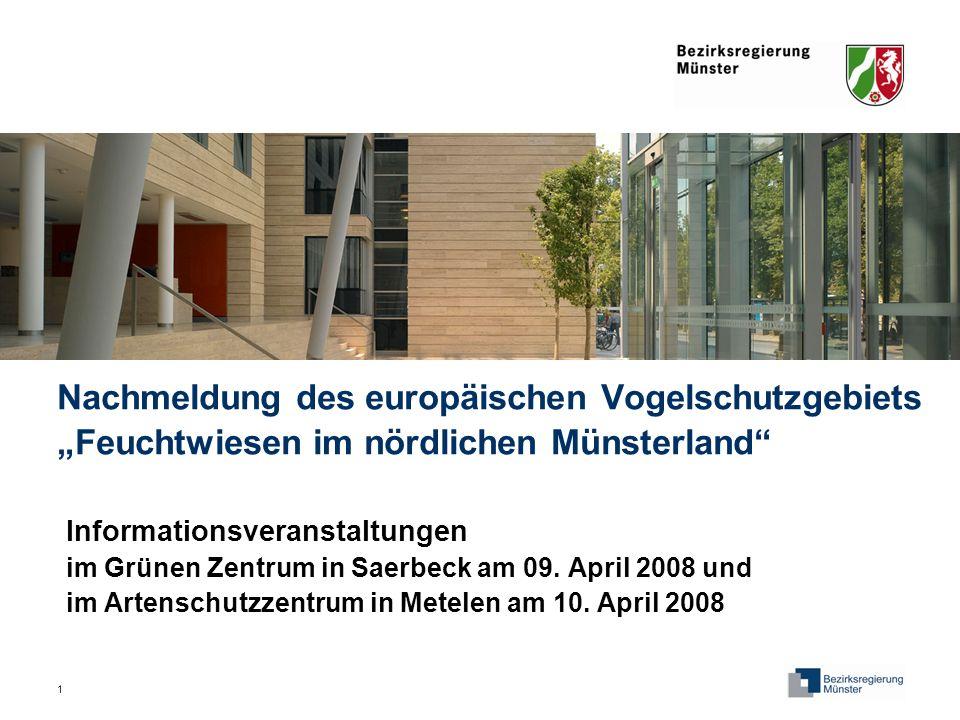 """Nachmeldung des europäischen Vogelschutzgebiets """"Feuchtwiesen im nördlichen Münsterland"""