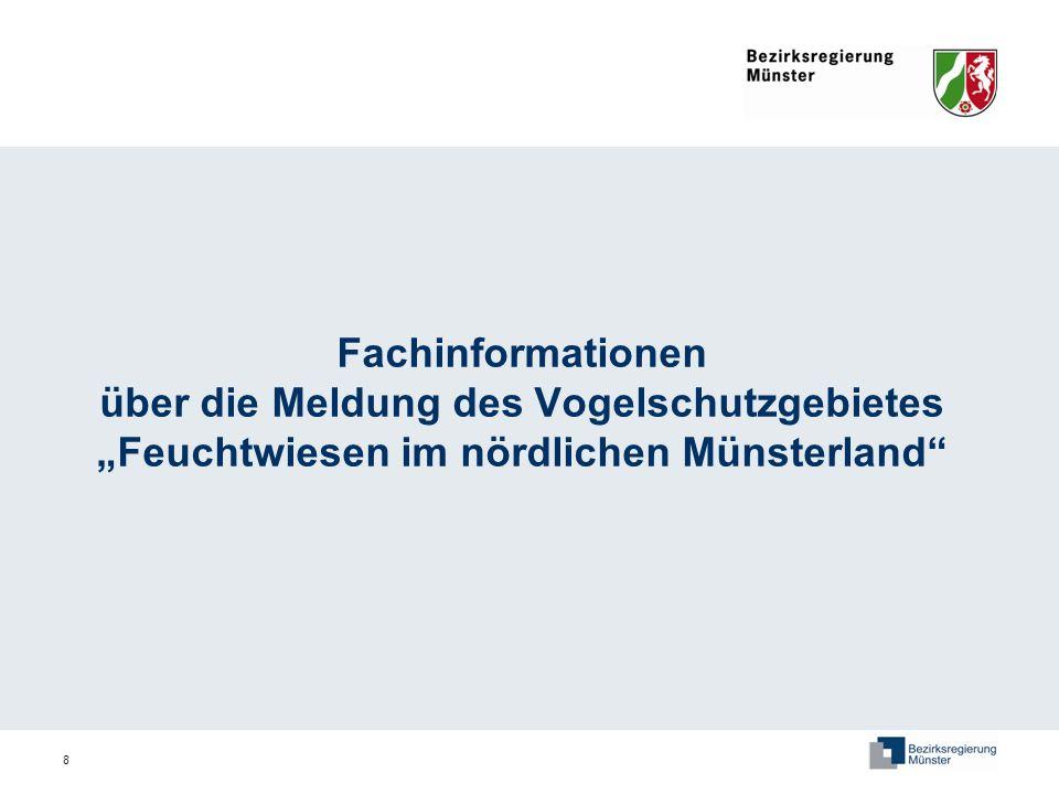 """Fachinformationen über die Meldung des Vogelschutzgebietes """"Feuchtwiesen im nördlichen Münsterland"""