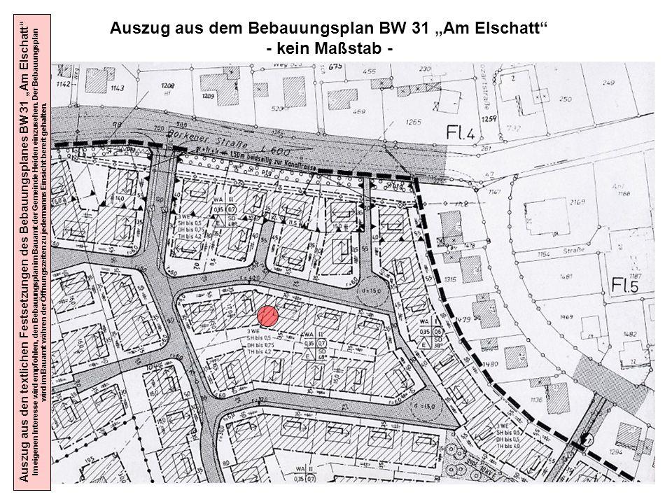 """Auszug aus dem Bebauungsplan BW 31 """"Am Elschatt"""