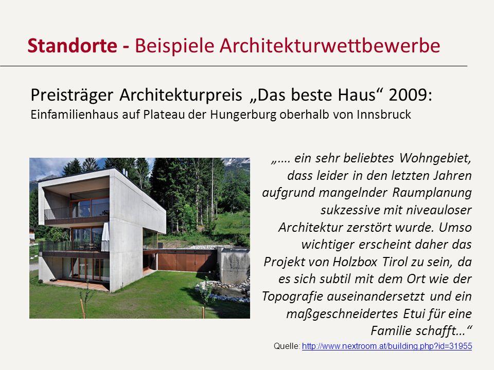 Standorte - Beispiele Architekturwettbewerbe