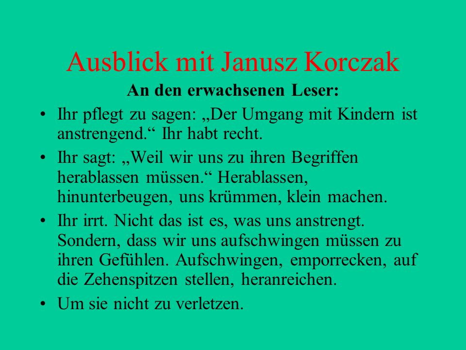 Ausblick mit Janusz Korczak
