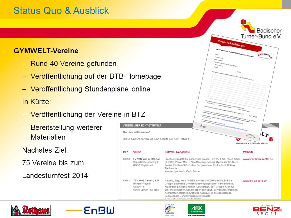 Status Quo & Ausblick GYMWELT-Vereine Rund 40 Vereine gefunden