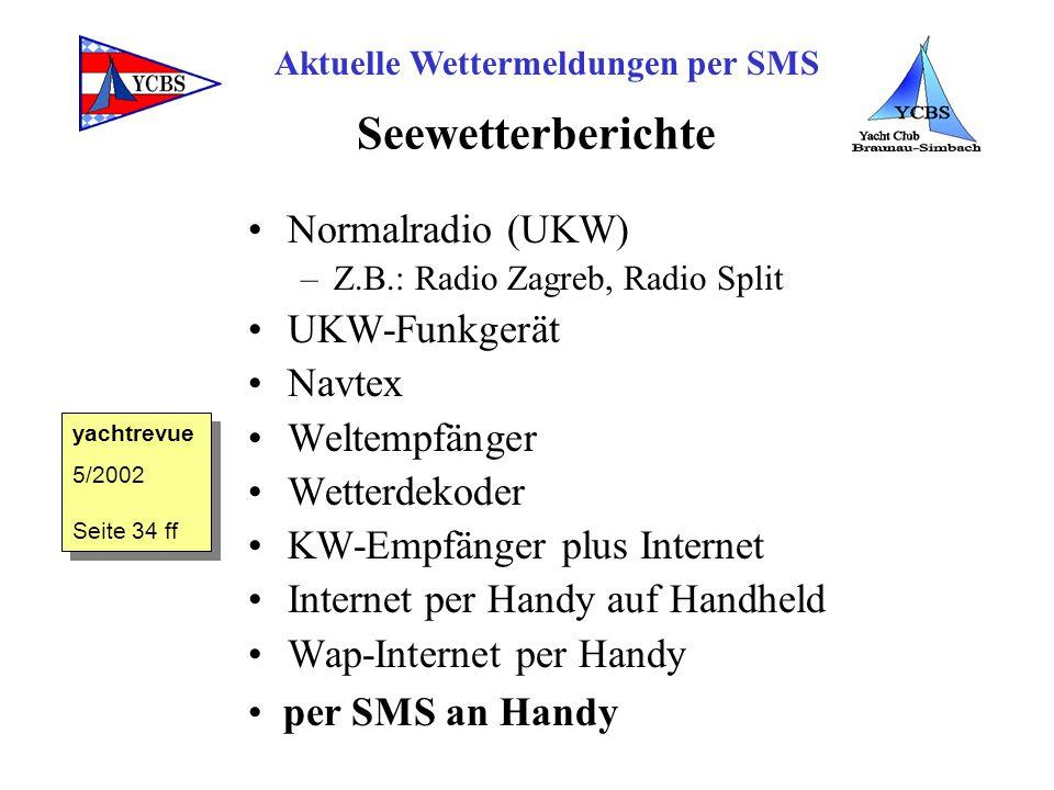 Seewetterberichte Normalradio (UKW) UKW-Funkgerät Navtex Weltempfänger