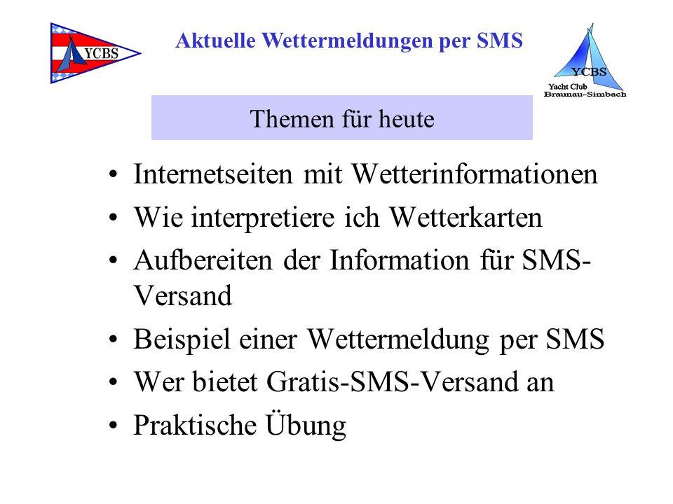 Internetseiten mit Wetterinformationen