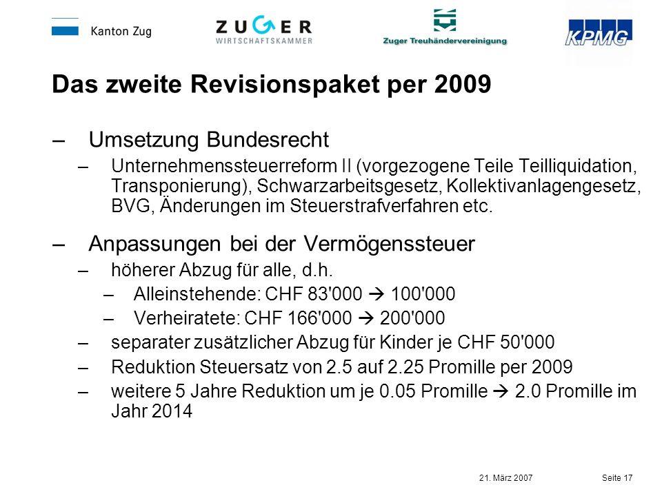 Das zweite Revisionspaket per 2009