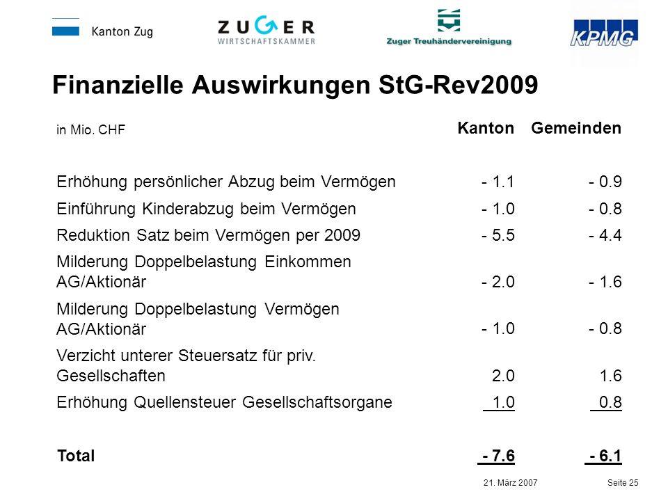 Finanzielle Auswirkungen StG-Rev2009