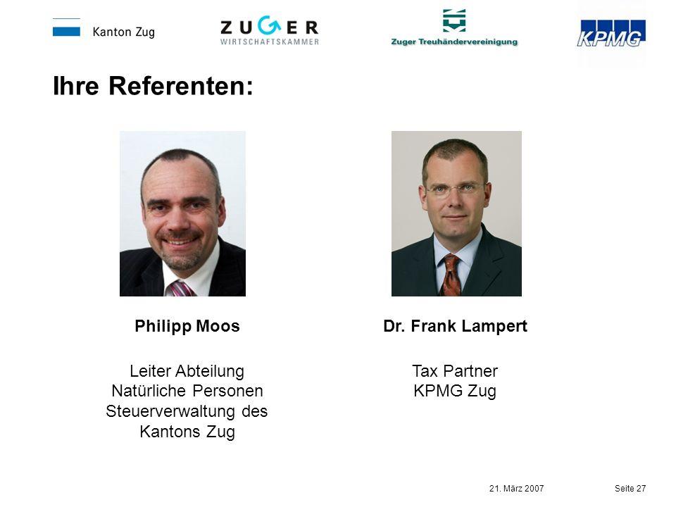 Leiter Abteilung Natürliche Personen Steuerverwaltung des Kantons Zug