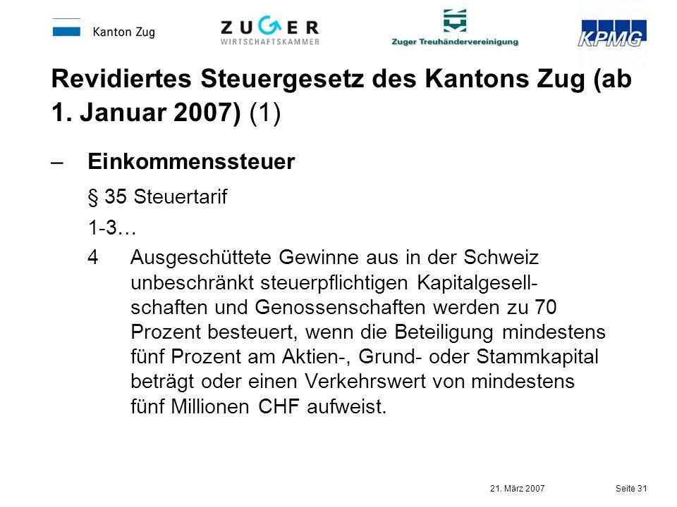 Revidiertes Steuergesetz des Kantons Zug (ab 1. Januar 2007) (1)