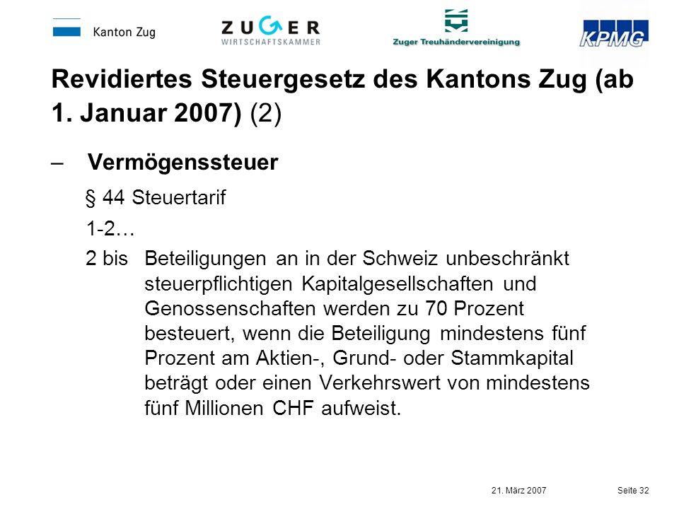 Revidiertes Steuergesetz des Kantons Zug (ab 1. Januar 2007) (2)