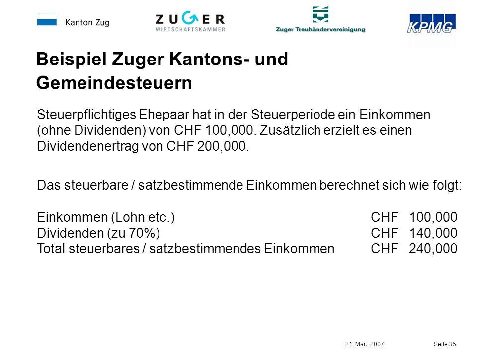 Beispiel Zuger Kantons- und Gemeindesteuern