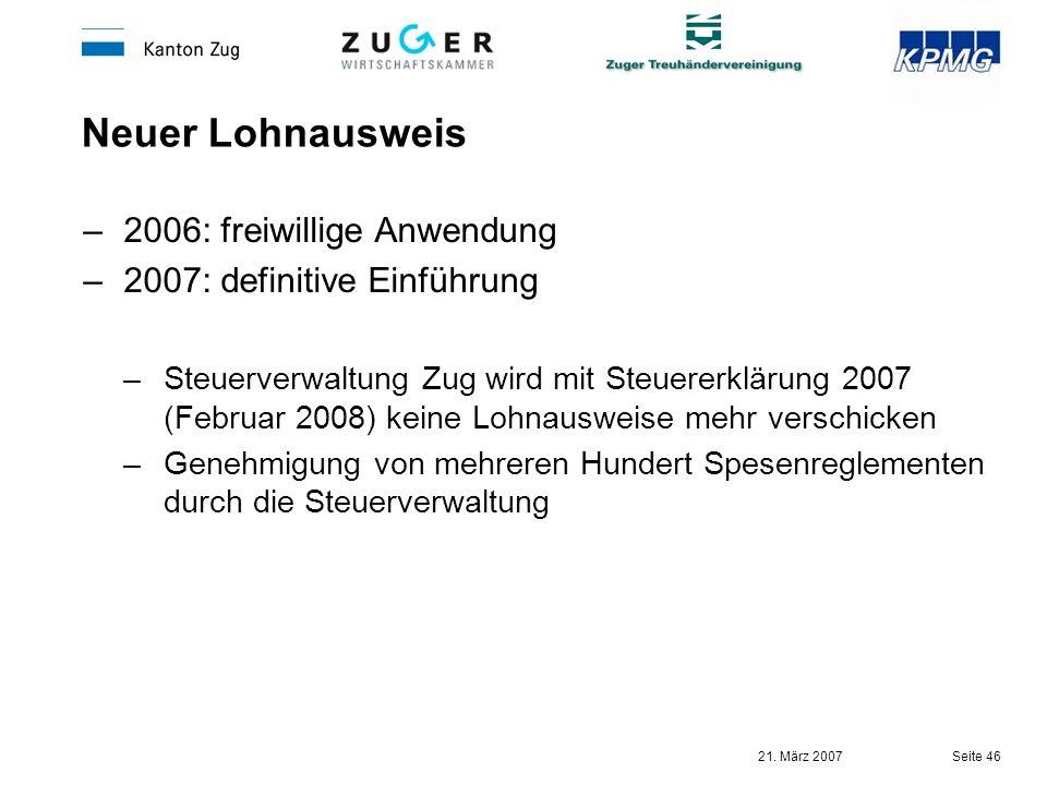 Neuer Lohnausweis 2006: freiwillige Anwendung