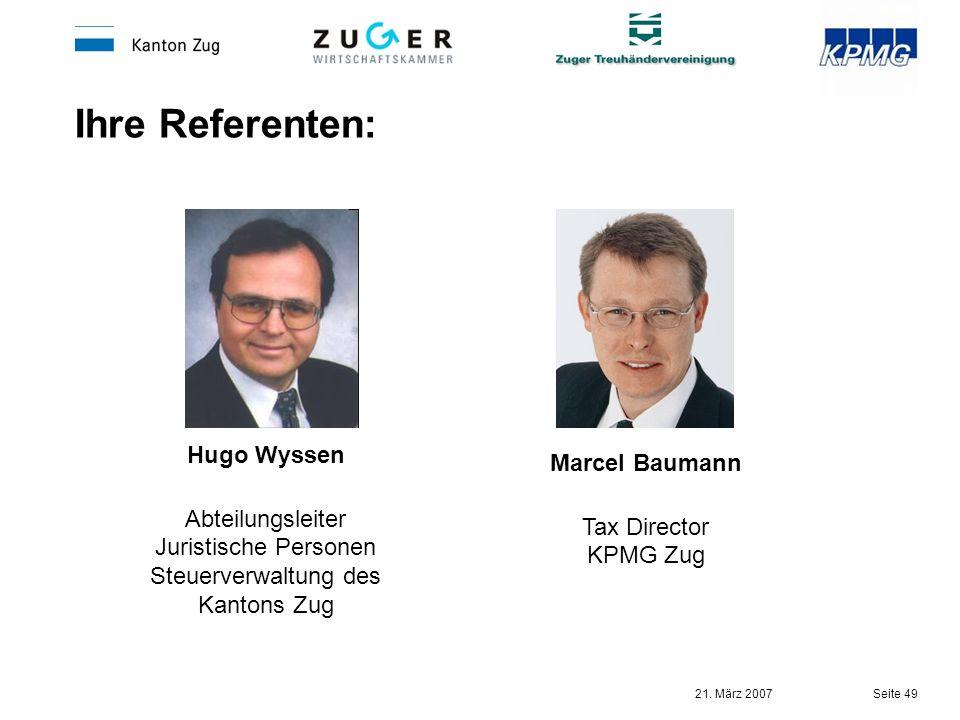 Abteilungsleiter Juristische Personen Steuerverwaltung des Kantons Zug