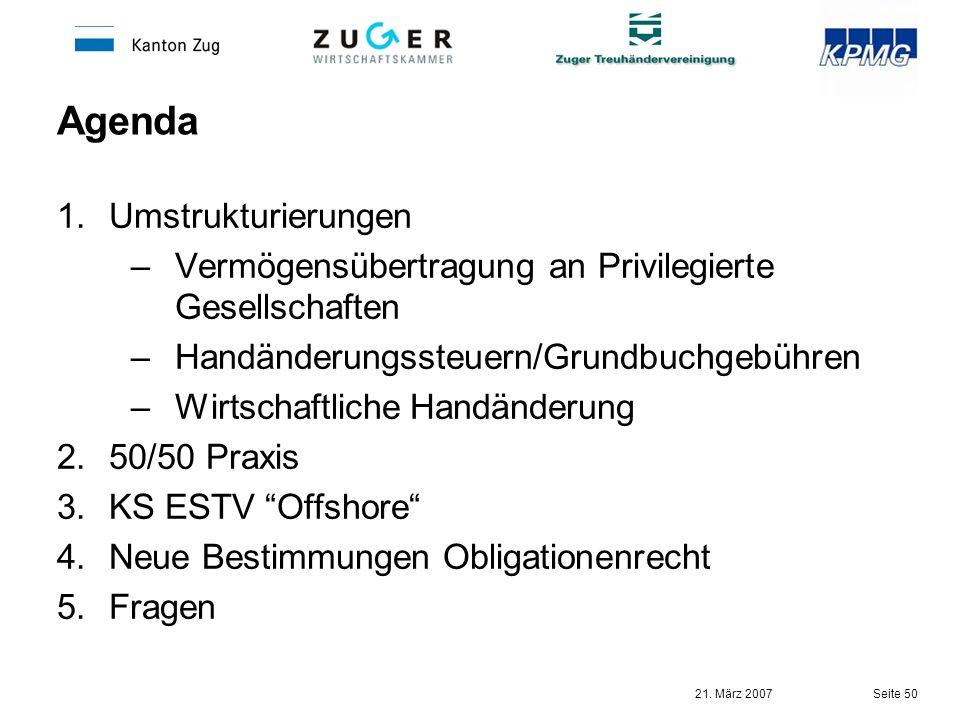 Agenda Umstrukturierungen
