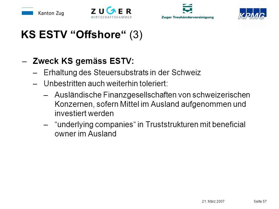 KS ESTV Offshore (3) Zweck KS gemäss ESTV: