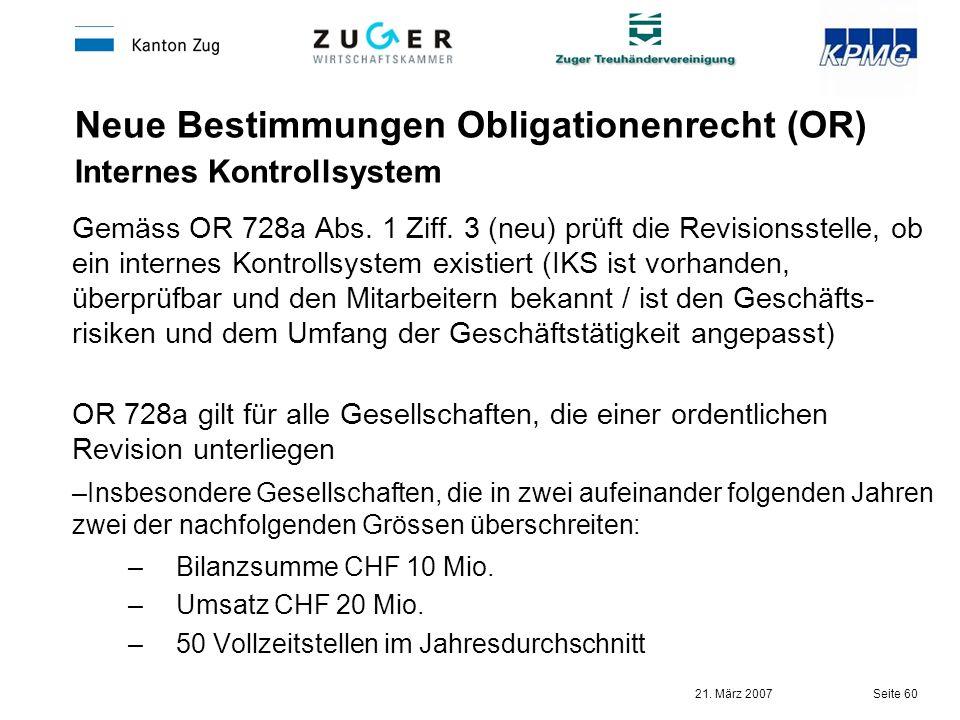 Neue Bestimmungen Obligationenrecht (OR) Internes Kontrollsystem