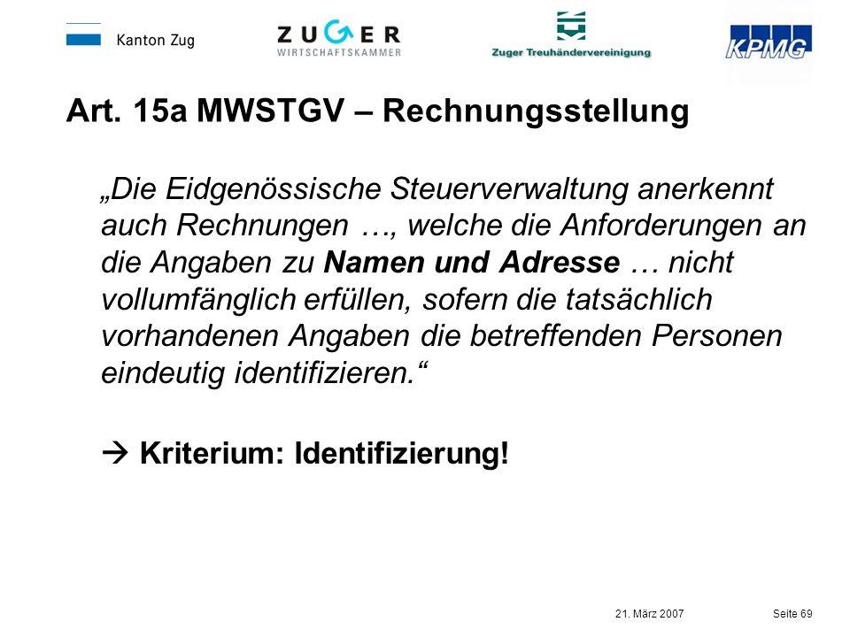 Art. 15a MWSTGV – Rechnungsstellung